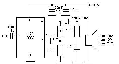 Схема проверенного усилителя на микросхеме TDA2003.  Привет всем любителям аудиоусилителей которые еще.