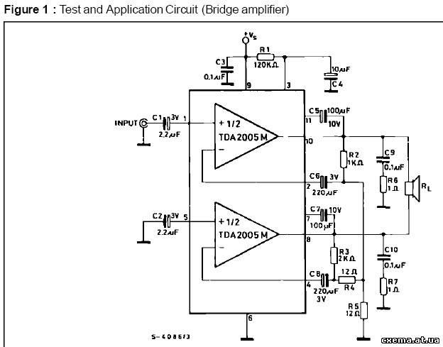 Схемa мостового включения tda7294