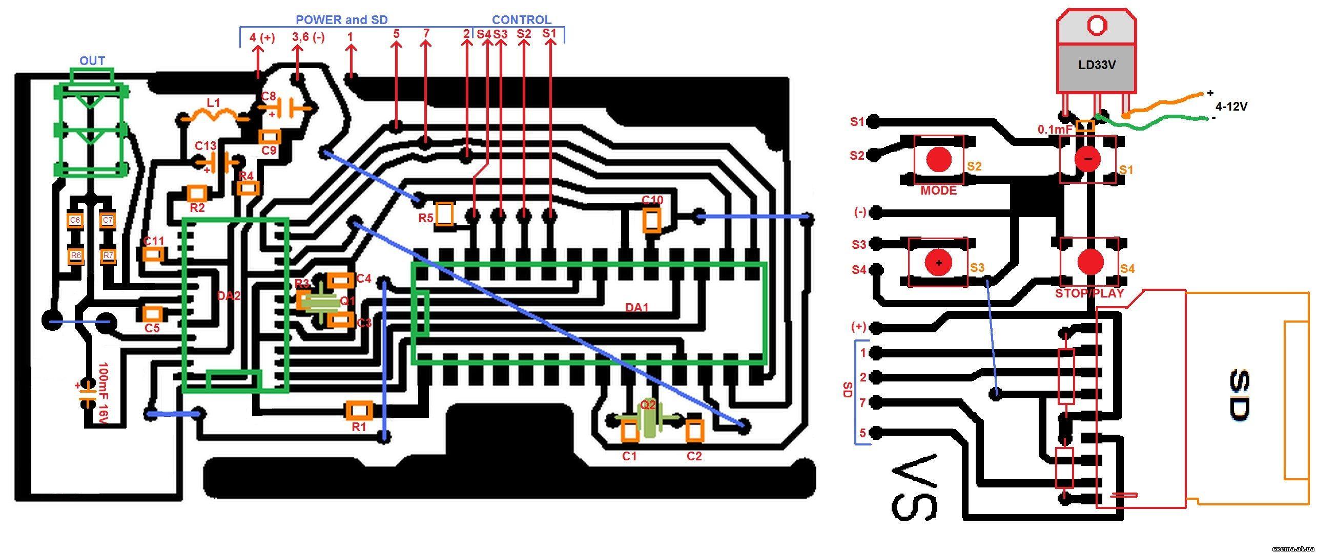 Схема простого MP3 плеера.